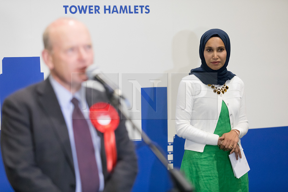 © Licensed to London News Pictures. 04/05/2018. London, UK. JOHN BIGGS, speaking after beating Rabina Khan (R) in the election of the Mayor of Tower Hamlets, at the Excel Centre in London. Photo credit: Vickie Flores/LNP