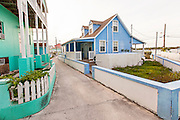 Pastel colored houses in New Plymouth on Green Turtle Cay, Bahamas.