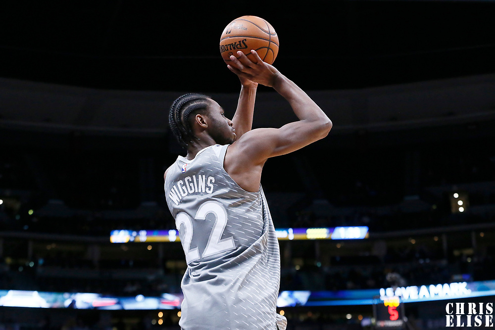 05 April 2018: Minnesota Timberwolves forward Andrew Wiggins (22) takes a jump shot during the Denver Nuggets 100-96 victory over the Minnesota Timberwolves, at the Pepsi Center, Denver, Colorado, USA.