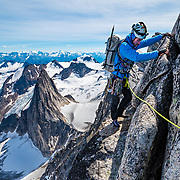 Brandon Prince on the NE Ridge on Bugaboo Spire in the Bugaboo Provincial Park