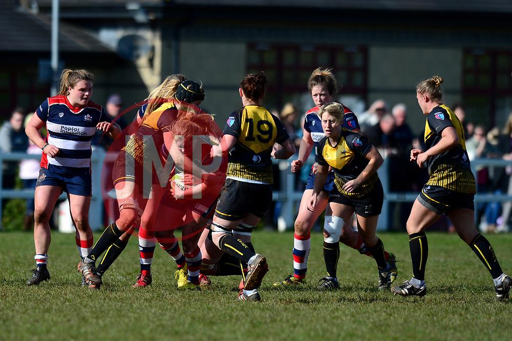 Izzy Noel Smith of Bristol Ladies is tackled  - Mandatory by-line: Dougie Allward/JMP - 26/03/2017 - RUGBY - Cleve RFC - Bristol, England - Bristol Ladies v Wasps Ladies - RFU Women's Premiership