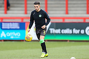 Forest Green Rovers Liam Shephard(2) warming up during the EFL Sky Bet League 2 match between Stevenage and Forest Green Rovers at the Lamex Stadium, Stevenage, England on 26 January 2019.