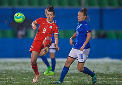 CESENA, ITALY - Tuesday, January 22, 2019: Wales' Angharad James (L) and Italy's Aurora Galli during the International Friendly between Italy and Wales at the Stadio Dino Manuzzi. (Pic by David Rawcliffe/Propaganda)