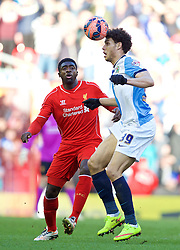 LIVERPOOL, ENGLAND - Sunday, March 8, 2015: Liverpool's Kolo Toure and Blackburn Rovers' Rudy Gestede during the FA Cup 6th Round Quarter-Final match at Anfield. (Pic by David Rawcliffe/Propaganda)