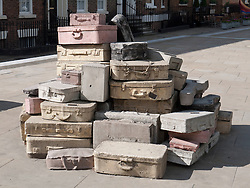 Suitcase sculpture called 'A Case History' by John King, made in concrete and installed 1998 at the top of Mount Street, Liverpool.