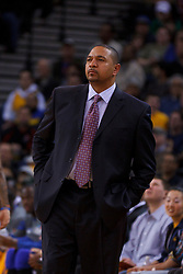 Feb 2, 2012; Oakland, CA, USA; Golden State Warriors head coach Mark Jackson on the sidelines against the Utah Jazz during the second quarter at Oracle Arena. Golden State defeated Utah 119-101. Mandatory Credit: Jason O. Watson-US PRESSWIRE