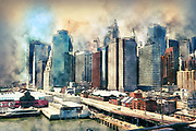 Digitally enhanced image of New York City skyline as seen from the Brooklyn Bridge