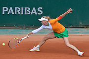 Caroline Wozniacki vel Karolina Wozniacka from Denmark competes in women's single round first while Day Third during Roland Garros 2014 at Roland Garros Tennis Club in Paris, France.<br /> <br /> France, Paris, May 27, 2014<br /> <br /> Picture also available in RAW (NEF) or TIFF format on special request.<br /> <br /> For editorial use only. Any commercial or promotional use requires permission.<br /> <br /> Mandatory credit:<br /> Photo by &copy; Adam Nurkiewicz / Mediasport@