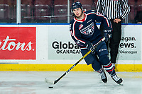 KELOWNA, BC - FEBRUARY 12: Edge Lambert #24 of the Tri-City Americans warms up with the puck against the Kelowna Rockets at Prospera Place on February 8, 2020 in Kelowna, Canada. (Photo by Marissa Baecker/Shoot the Breeze)