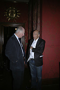 Lord Rothschild and Peter Simon, Party for Jean Pigozzi hosted by Ivor Braka to thank him for the loan exhibition 'Popular Painting' from Kinshasa'  at Tate Modern. Cadogan sq. London. 29 May 2007.  -DO NOT ARCHIVE-© Copyright Photograph by Dafydd Jones. 248 Clapham Rd. London SW9 0PZ. Tel 0207 820 0771. www.dafjones.com.