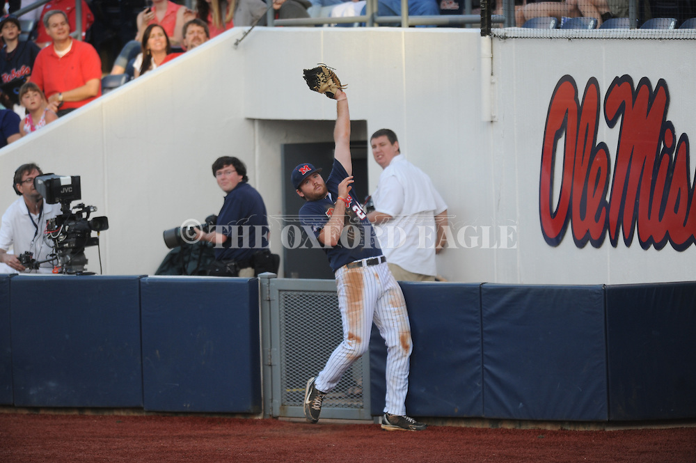 Ole Miss' Sikes Orvis catches a foul ball vs. Mississippi State at Oxford-University Stadium in Oxford, Miss. on Saturday, May 11, 2013. Ole Miss won 10-8 in the second game of a doubleheader..