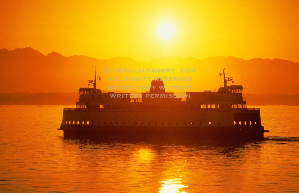 Image of Washington State Ferry on Puget Sound at sunset, Seattle, Washington, Pacific Northwest