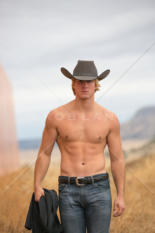 sexy shirtless muscular cowboy outdoors