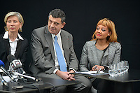 Myriam Picot, Thierry Philip and Odile Belinga attend the Press Conference for The March 2014 Mayoral Elections