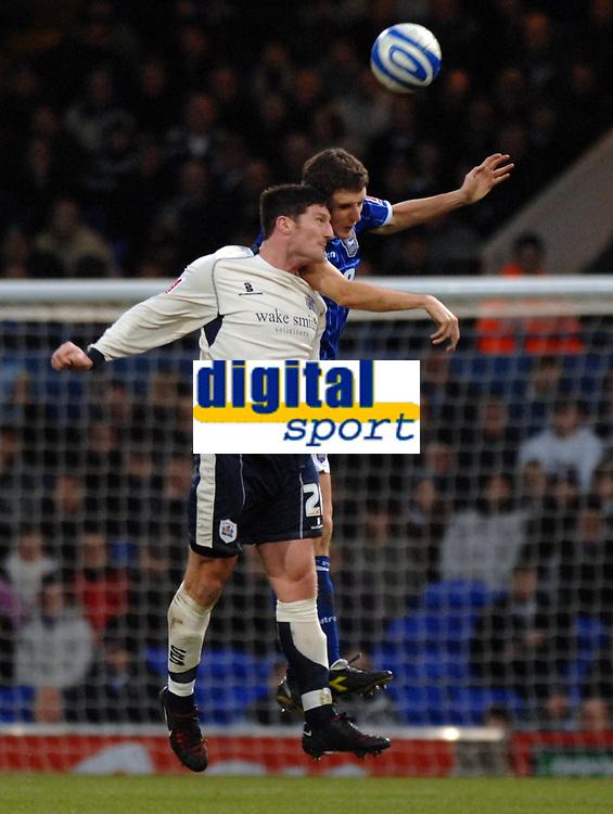 Photo: Ashley Pickering/Sportsbeat Images.<br /> Ipswich Town v Barnsley. Coca Cola Championship. 01/12/2007.<br /> Jon Macken of Barnsley (L) and Alex Bruce of Ipswich