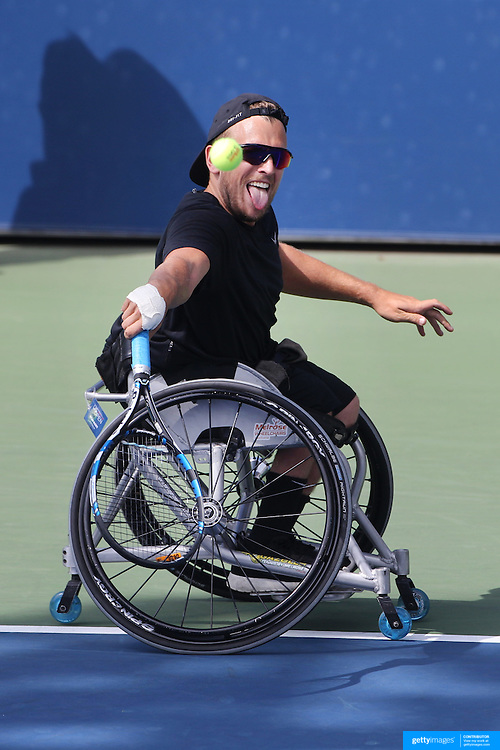Dylan Alcott, Australia, in action during his victory against David Wagner, USA, in the Wheelchair Quad Singles Final during the US Open Tennis Tournament, Flushing, New York, USA. 13th September 2015. Photo Tim Clayton