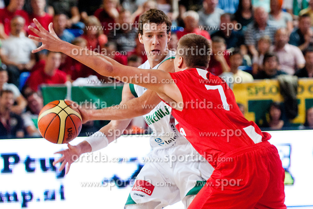 Goran Dragic of Slovenia vs Tomasz Snieg of Poland at exhibition game between Slovenia and Poland for Primus Trophy 2011Lithuania as part of exhibition games before European Championship L2011on July 23, 2011, in Ljudski Vrt, Ptuj, Slovenia. (Photo by Matic Klansek Velej / Sportida)