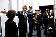 08.MAY.2012. NEW YORK CITY<br /> <br /> CPE/PRESIDENT BARACK OBAMA JOKES WITH SENIOR ADVISOR VALERIE JARRETT BACKSTAGE BEFORE DELIVERING REMARKS ON THE ECONOMY AT THE COLLEGE OF NANOSCALE SCIENCE AND ENGINEERING AT THE STATE UNIVERSITY OF NEW YORK IN ALBANY, N.Y., MAY 8, 2012.  <br /> <br /> BYLINE: EDBIMAGEARCHIVE.CO.UK<br /> <br /> *THIS IMAGE IS STRICTLY FOR UK NEWSPAPERS AND MAGAZINES ONLY*<br /> *FOR WORLD WIDE SALES AND WEB USE PLEASE CONTACT EDBIMAGEARCHIVE - 0208 954 5968*
