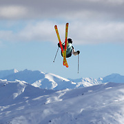 Jossi Wells, New Zealand, in action during the Freeski Slopestyle Men's Final at Snow Park, New Zealand during the Winter Games. Wanaka, New Zealand, 18th August 2011. Photo Tim Clayton