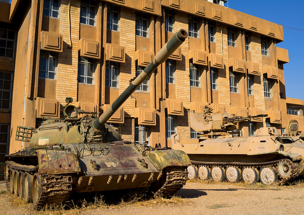 Tank in the Red Security building in Suleymanyah, Kurdistan, Iraq. Suleymanyah, Amna Suraka Museum, dedicated to the remembrance of the war crimes committed Kurdistan. In this very building, Saddam Hussein and his henchmen tortured thousands of people.