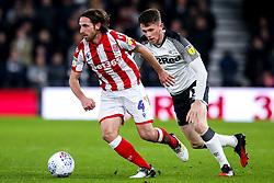 Joe Allen of Stoke City takes on Max Bird of Derby County - Mandatory by-line: Robbie Stephenson/JMP - 31/01/2020 - FOOTBALL - Pride Park Stadium - Derby, England - Derby County v Stoke City - Sky Bet Championship