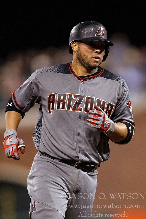 SAN FRANCISCO, CA - APRIL 18: Welington Castillo #7 of the Arizona Diamondbacks rounds the bases after hitting a home run against the San Francisco Giants during the fourth inning at AT&T Park on April 18, 2016 in San Francisco, California. The Arizona Diamondbacks defeated the San Francisco Giants 9-7 in 11 innings.  (Photo by Jason O. Watson/Getty Images) *** Local Caption *** Welington Castillo
