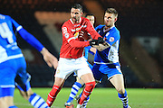 Ashley Eastham, Marcus Haber during the Sky Bet League 1 match between Rochdale and Crewe Alexandra at Spotland, Rochdale, England on 16 February 2016. Photo by Daniel Youngs.
