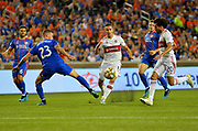 Maikel van der Werff (23) of FC Cincinnati takes the Balla way from Chicago Fire players during a MLS soccer game, Saturday, September 21, 2019, in Cincinnati, OH. Chicago tied Cincinnati 0-0. (Jason Whitman/Image of Sport)