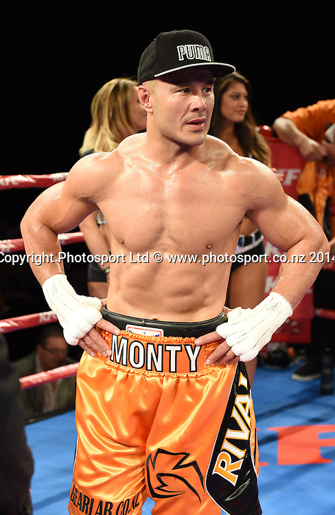 Monty Betham after his win over Carlos Spencer. KFC Fight For Life Boxing by Duco Events at the Claudelands Arena in Hamilton. New Zealand. Saturday 6 December 2014. Photo: Andrew Cornaga/www.photosport.co.nz.