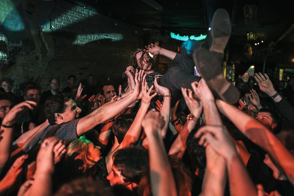 The New Electric Sound's Scott Vance crowdsurfs at Velour Live Music Gallery in Provo, Utah.