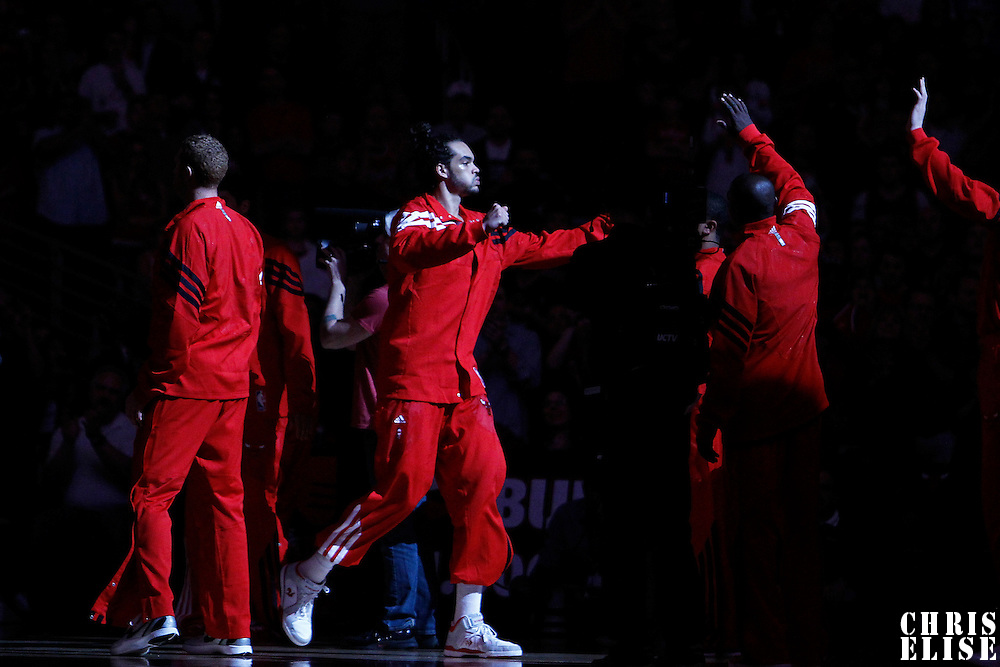 16 March 2012: Chicago Bulls center Joakim Noah (13) is seen during the players introduction prior to the Portland Trail Blazers 100-89 victory over the Chicago Bulls at the United Center, Chicago, Illinois, USA.