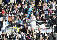 Universiade Tretnine 2013 l'accensione della Fiaccola di Papa Francesco a Roma assieme all'arcivesco Luigi Bressan 6 novembre 2013 © foto Daniele Mosna