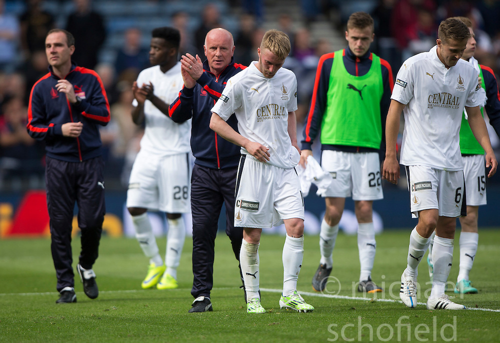 Falkirk's Craig Sibbald and Falkirk's manager Peter Houston at the end. Falkirk 1 v 2 Inverness CT, Scottish Cup final at Hampden.