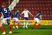 Harvey Barnes England U21s (West Bromwich Albion, loan from Leicester City) looking for a route to goal between Stephen O'Donnell & James Forrest during the U21 UEFA EUROPEAN CHAMPIONSHIPS match Scotland vs England at Tynecastle Stadium, Edinburgh, Scotland, Tuesday 16 October 2018.