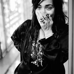 Folk-singer hindi zahra, as shot for Vibrations magazine. Paris, France. 27th April 2009. Photo: Antoine Doyen