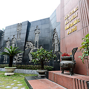 A memorial in a courtyard of Hoa Lo Prison commemorating those who were incacerated in and those who died in the prison under French colonial rule. Hoa Lo Prison, also known sarcastically as the Hanoi Hilton during the Vietnam War, was originally a French colonial prison for political prisoners and then a North Vietnamese prison for prisoners of war. It is especially famous for being the jail used for American pilots shot down during the Vietnam War.