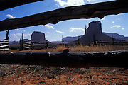 Corral & view north toward rock monoliths, Navajo Tribal Park, Arizona.©1996 Edward McCain. All rights reserved. McCain Photography, McCain Creative, Inc..