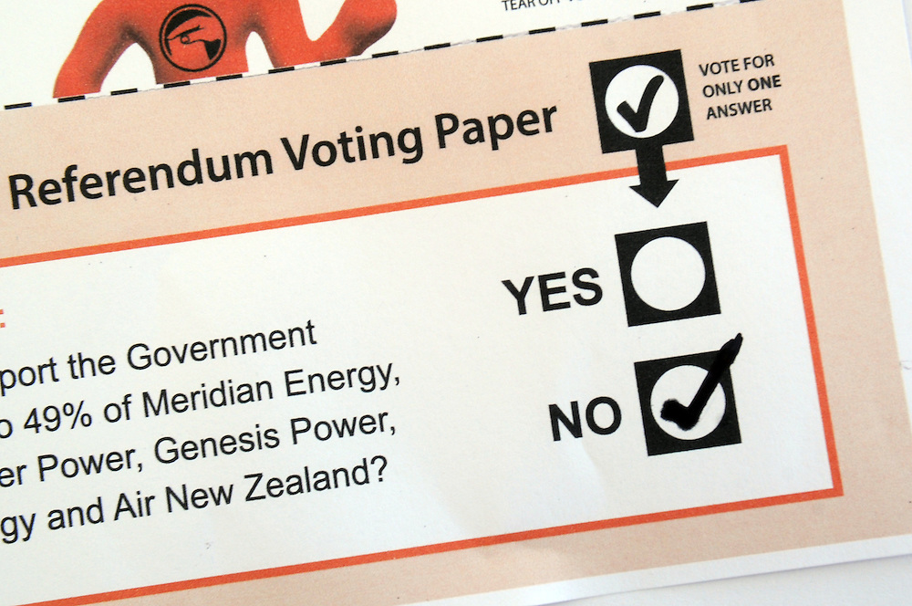Citzens Initiated Referendum voting paper on the Government selling state owned assets, Wellington, New Zealand, Sunday, November 24, 2013. Credit:SNPA / Ross Setford