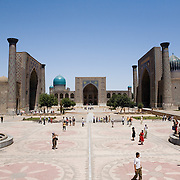 Samarkand's busy Registan at mid-day