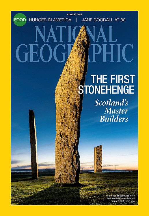 Neolithic Orkney featured in National Geographic. The Standing Stones of Stenness on the cover.