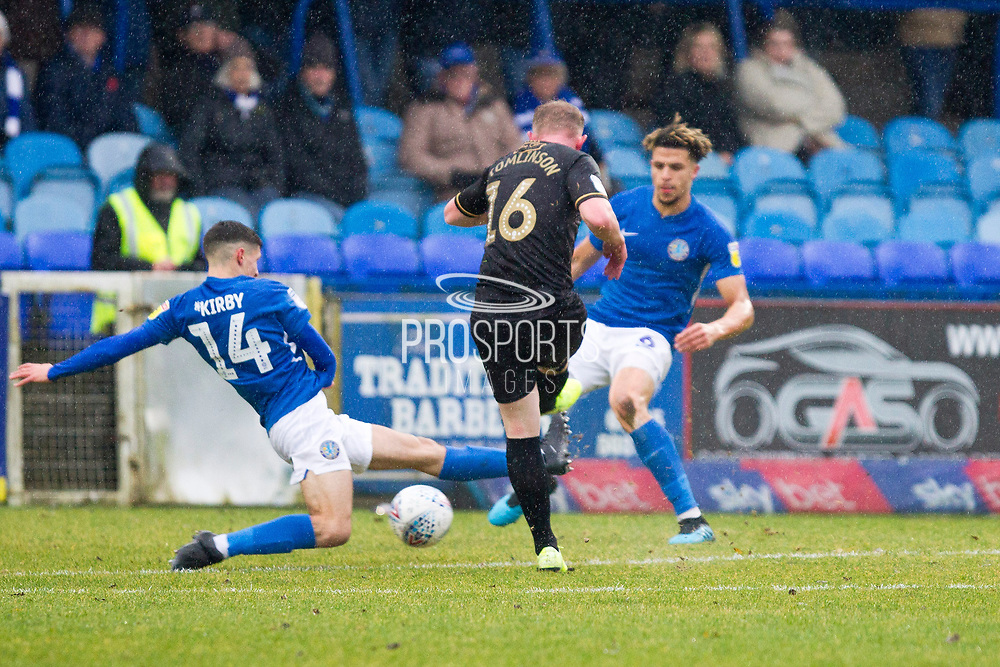 Mansfield Town midfielder Willem Tomlinson has shot a goal during the EFL Sky Bet League 2 match between Macclesfield Town and Mansfield Town at Moss Rose, Macclesfield, United Kingdom on 16 November 2019.