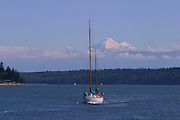 Sailboat, Mt. Baker in background, Washington<br />