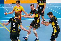 Seain Cook #19 of Dynamo, Jeroen Rauwerink #2 of Dynamo celebrate in the second round between Sliedrecht Sport and Draisma Dynamo on February 29, 2020 in sports hall de Basis, Sliedrecht