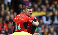 Rugby Union - 2017 European Rugby Champions Cup Final - Clermont Auvergne vs. Saracens<br /> <br /> Alex Goode of Saracens celebrates with Chris Ashton of Saracens after he scores a try during the Champions Cup Final at Murrayfield.<br /> <br /> COLORSPORT/LYNNE CAMERON