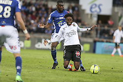 April 28, 2018 - Strasbourg, France - Tameze Aoutsa Adrien 5; Nice Aholou Jean Eudes Pascal Armand 8; Racing Strasbourg.during the French L1 football match between Strasbourg (RCSA) and Nice (OGC) on April 28, 2018 at the Meinau stadium in Strasbourg, eastern France. (Credit Image: © Elyxandro Cegarra/NurPhoto via ZUMA Press)