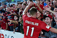 February 18, 2017:  Western Sydney Wanderers forward Brendon SANTALAB (11) celebrates the win at Round 20 of the 2016 Hyundai A-League match, between Western Sydney Wanderers and Sydney FC, played at ANZ Stadium in Sydney.