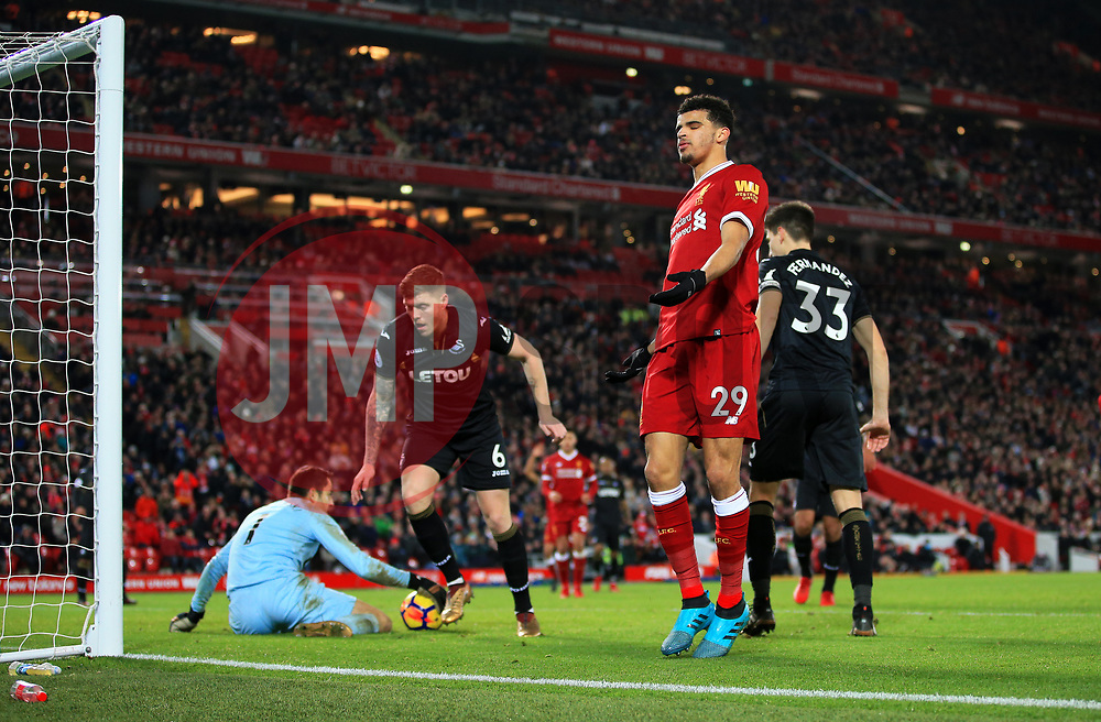 Dominic Solanke of Liverpool reacts after missing a chance - Mandatory by-line: Matt McNulty/JMP - 26/12/2017 - FOOTBALL - Anfield - Liverpool, England - Liverpool v Swansea City - Premier League