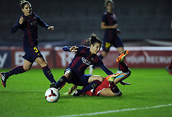 Bristol Academy Womens' Natasha Harding is inches away from scoring  - Photo mandatory by-line: Joe Meredith/JMP - Mobile: 07966 386802 - 13/11/2014 - SPORT - Football - Bristol - Ashton Gate - Bristol Academy Womens FC v FC Barcelona - Women's Champions League