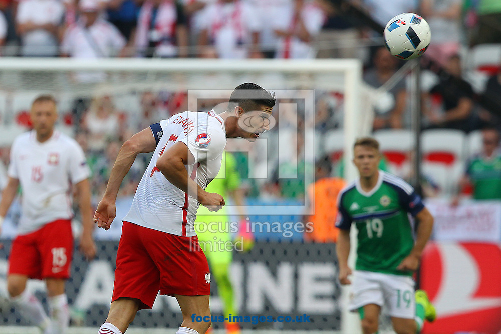 Robert Lewandowski of Poland in action during the UEFA Euro 2016 match at Stade de Nice, Nice<br /> Picture by Paul Chesterton/Focus Images Ltd +44 7904 640267<br /> 12/06/2016
