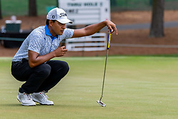 May 4, 2019 - Charlotte, NC, U.S. - CHARLOTTE, NC - MAY 04: Fabian Gomez reads his putt on the 3rd hole during the third round of the Wells Fargo Championship at Quail Hollow on May 4, 2019 in Charlotte, NC. (Photo by William Howard/Icon Sportswire) (Credit Image: © William Howard/Icon SMI via ZUMA Press)